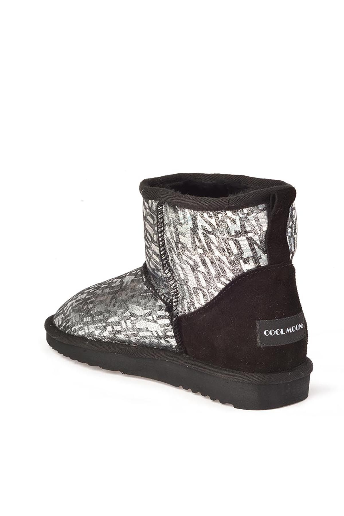 Cool Moon Women Uggs From Genuine Fur With Font Pattern Silver