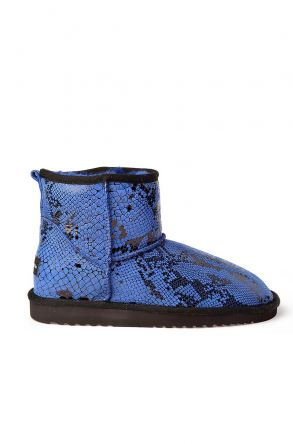 Cool Moon Women Uggs From Genuine Fur With Snake Pattern Blue