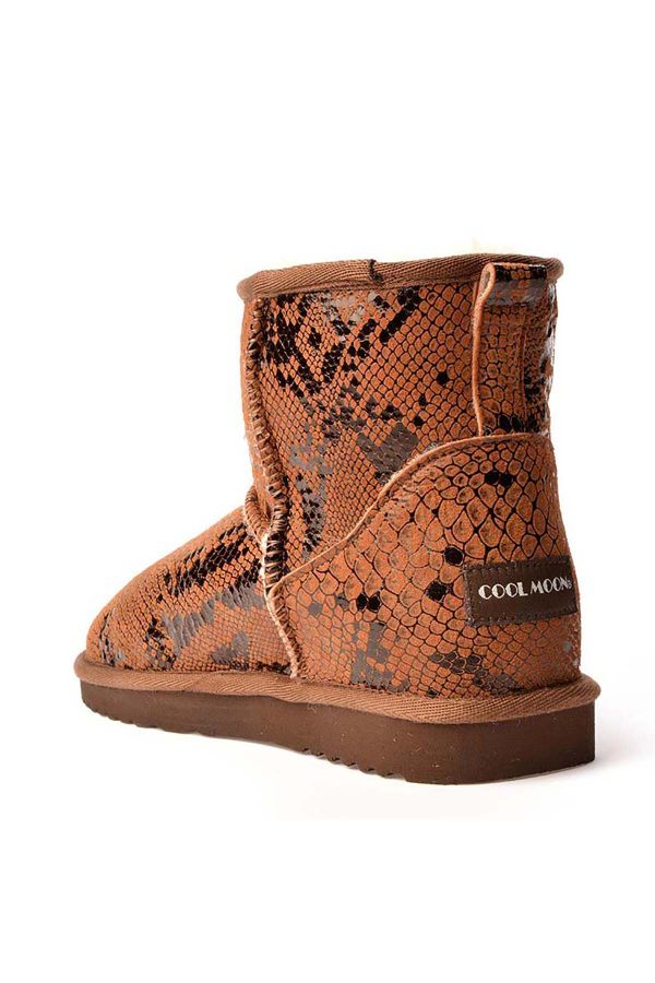 Cool Moon Women Uggs From Genuine Fur With Snake Pattern Brown