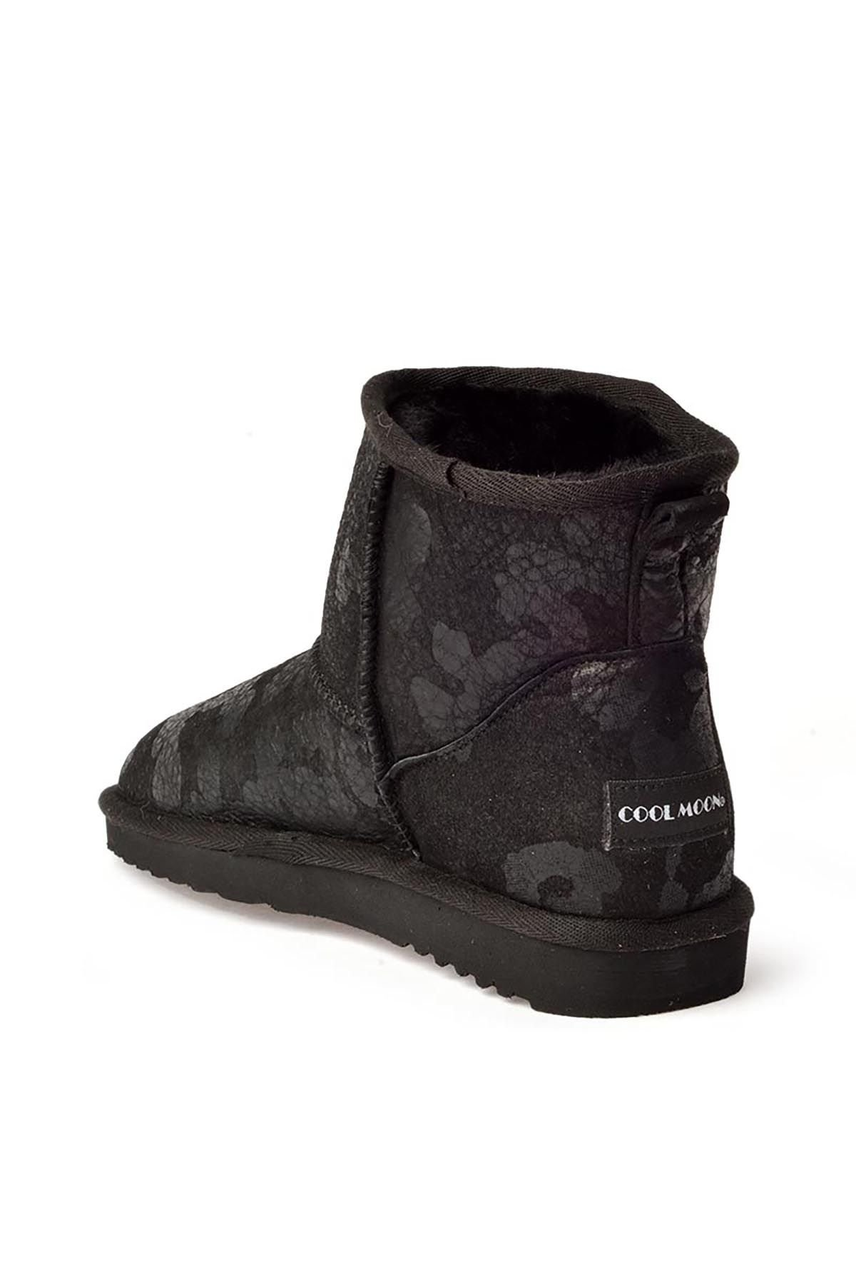 Cool Moon Camouflage Women Uggs From Genuine Fur Black