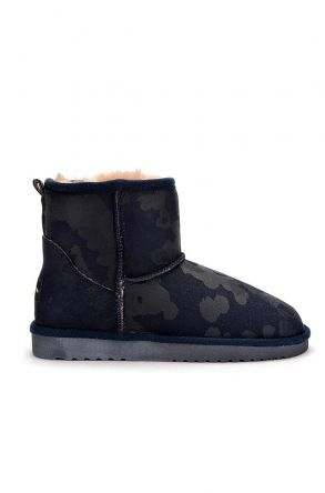 Cool Moon Camouflage Women Uggs From Genuine Fur Navy blue