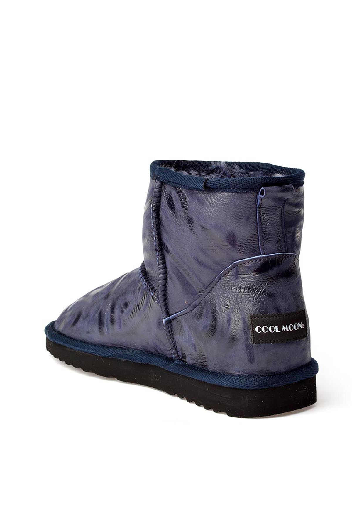 Cool Moon Patterned Women Uggs From Genuine Fur Navy blue