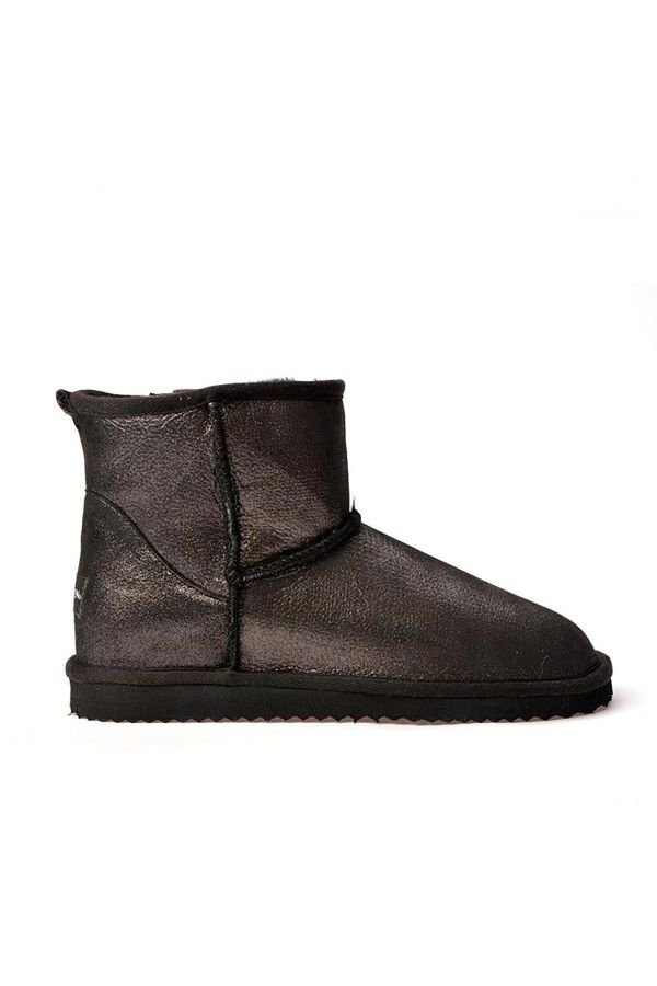 Cool Moon Patterned Women Uggs From Genuine Fur Black