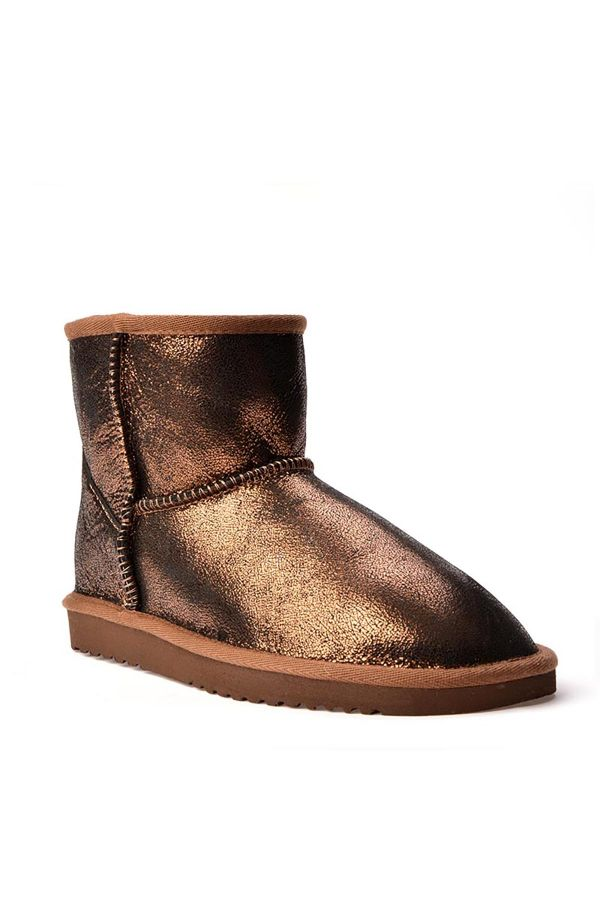 Cool Moon Patterned Women Uggs From Genuine Fur Bronze