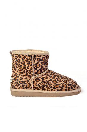 Cool Moon Women Uggs From Genuine Fur With Leopard Pattern Beige