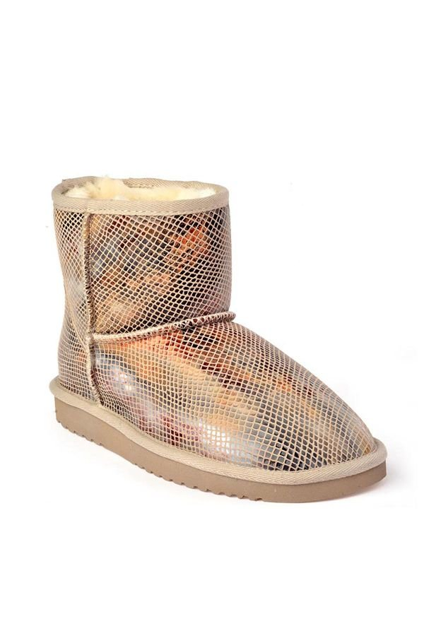 Cool Moon Colored Women Uggs From Genuine Fur Beige