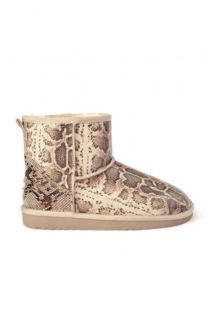 Cool Moon Women Uggs From Genuine Fur With Anaconda Pattern Beige