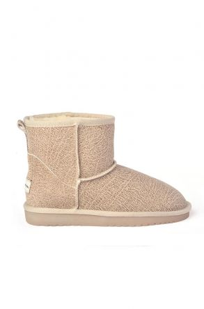 Cool Moon Patterned Women Uggs From Genuine Fur Beige