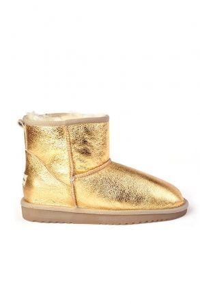 Cool Moon Women Ugg Style Boots From Genuine Fur Golden