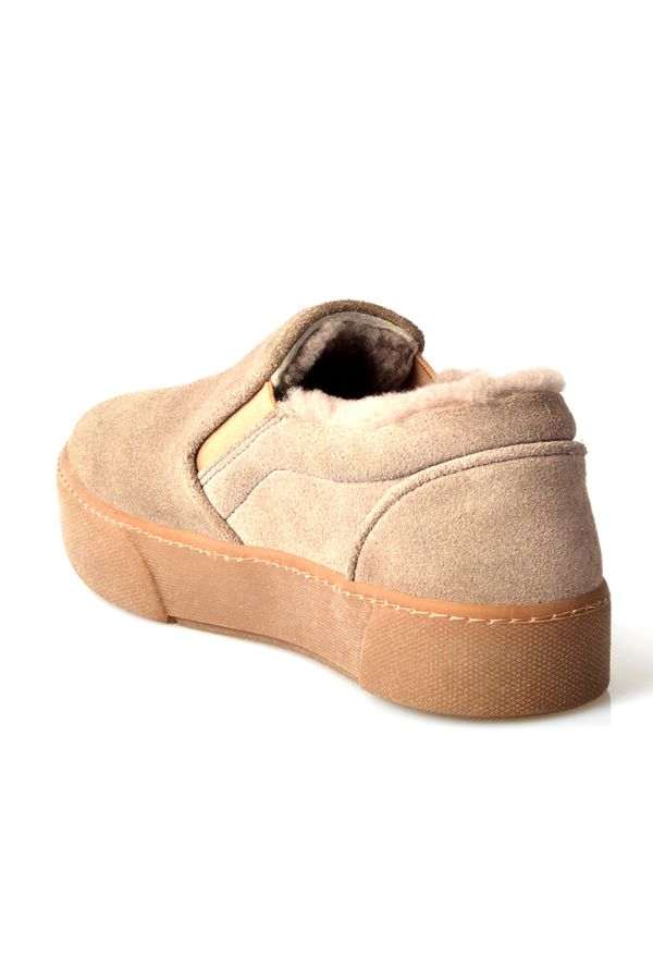 Pegia Women Sneakers From Genuine Suede And Fur Gray
