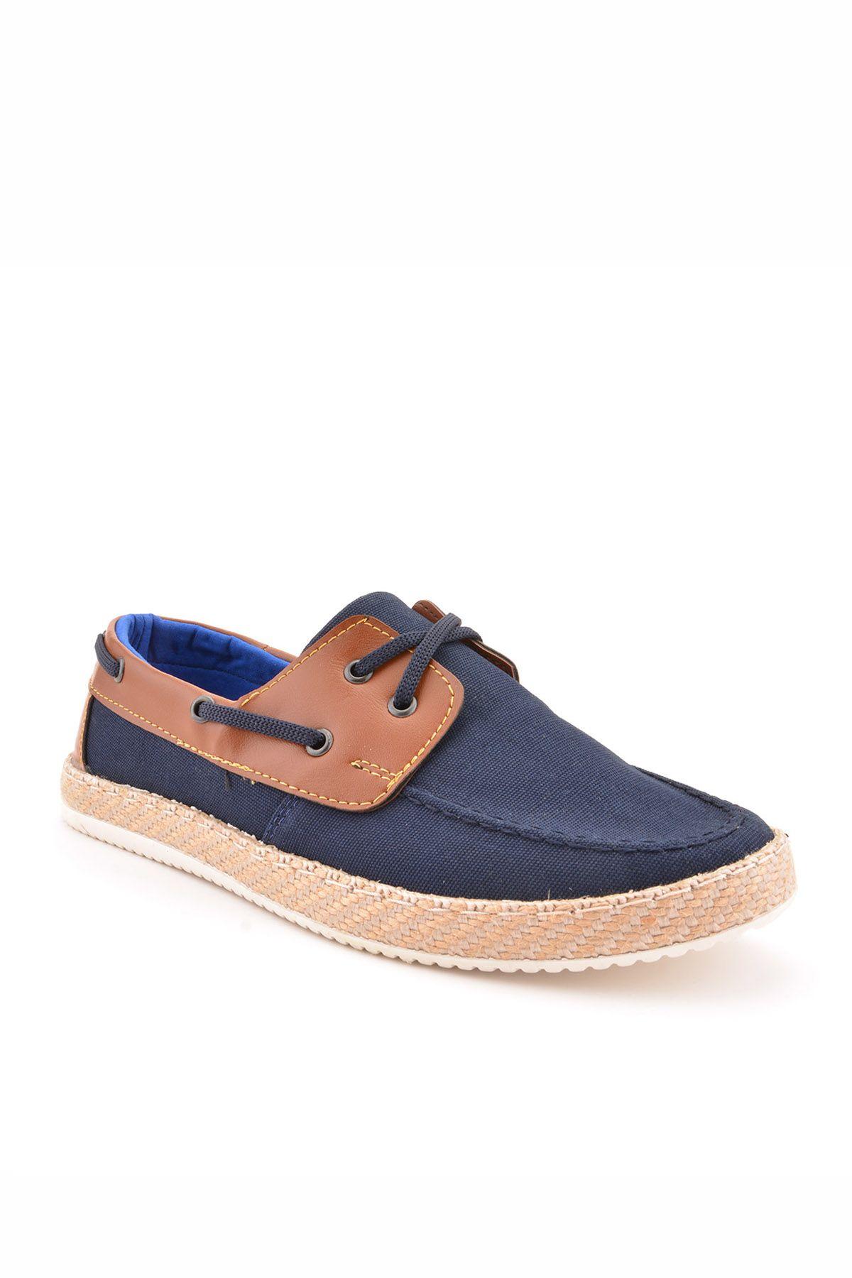 Koza Hakiki Deri Detaylı Keten Erkek Ayakkabı KZ96 Navy blue
