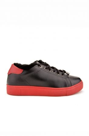 Pegia Hakiki Deri Kışlık Bayan Sneaker Siyah