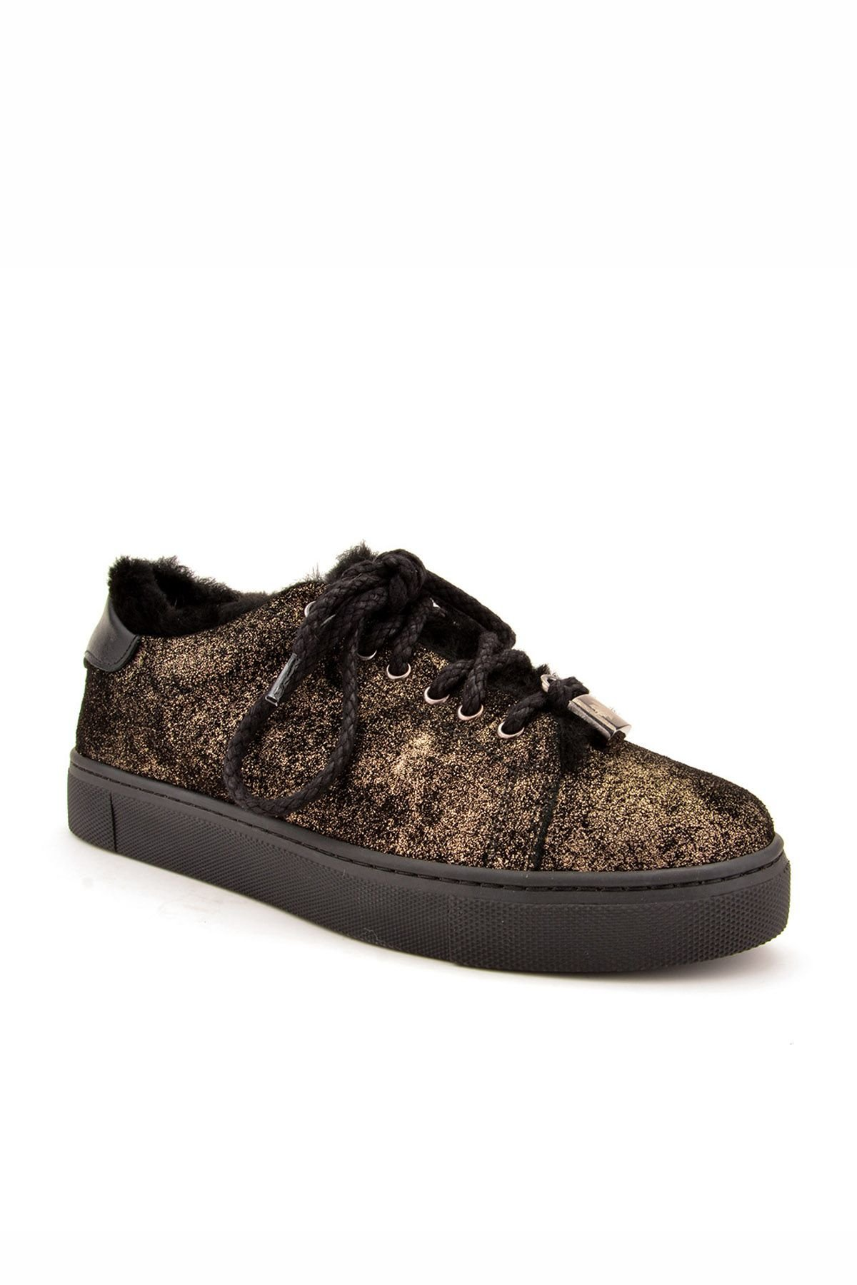 Pegia Women Sneakers From Genuine Leather And Fur Golden