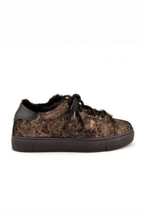 Pegia Hakiki Deri Kışlık Bayan Sneaker Altın