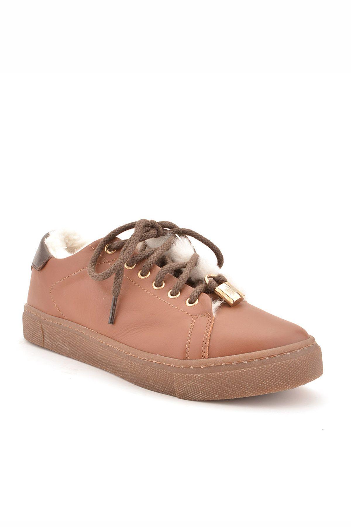 Pegia Hakiki Deri Kışlık Bayan Sneaker Taba