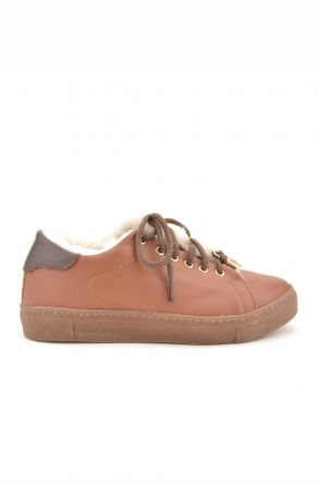 Pegia Women Sneakers From Genuine Leather And Fur Ginger