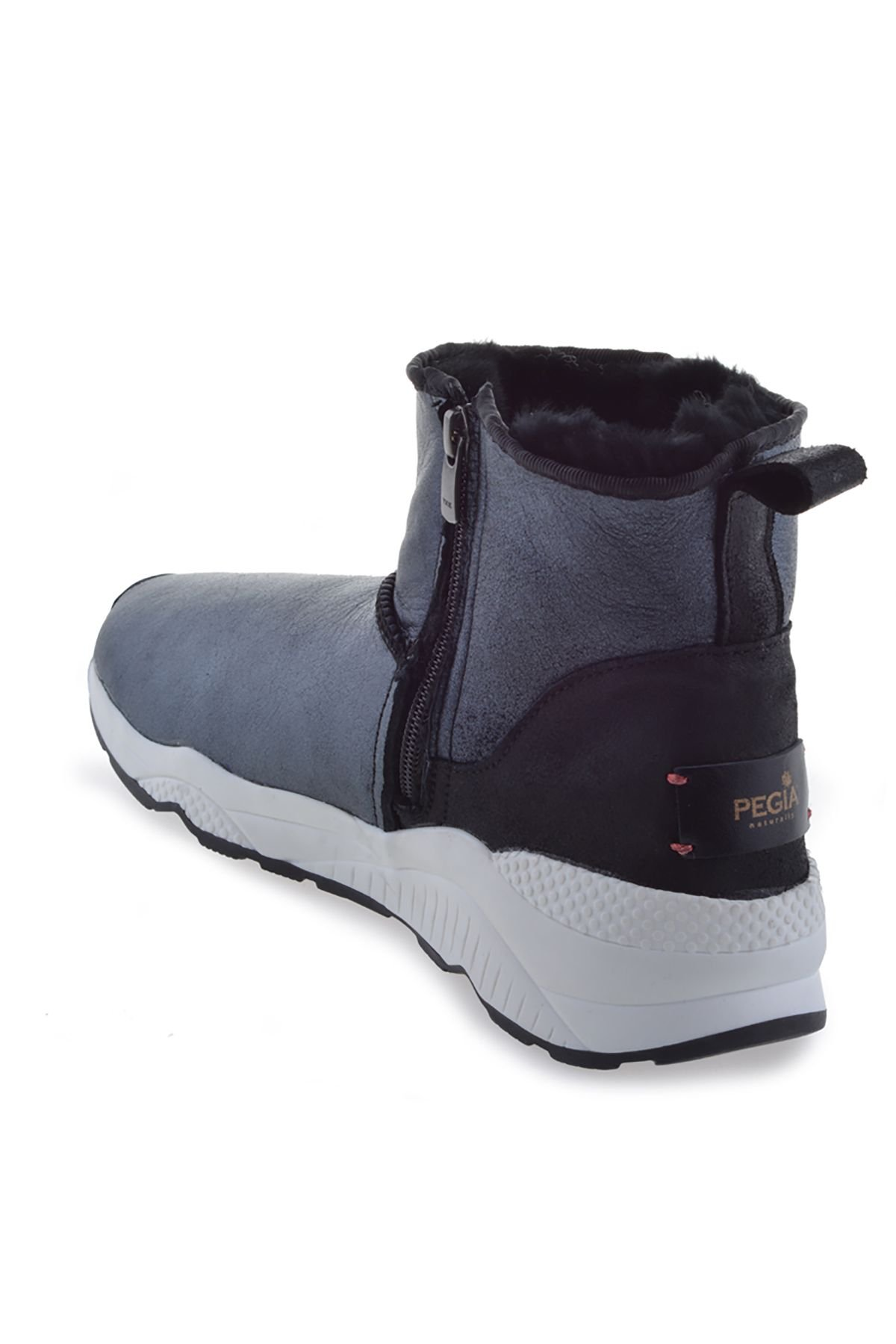 Pegia Women Boots From Genuine Suede And Fur With Side Zip Black