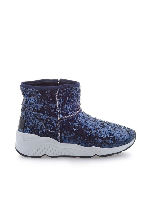 Pegia Women Boots From Genuine Suede And Fur With Side Zip Navy blue