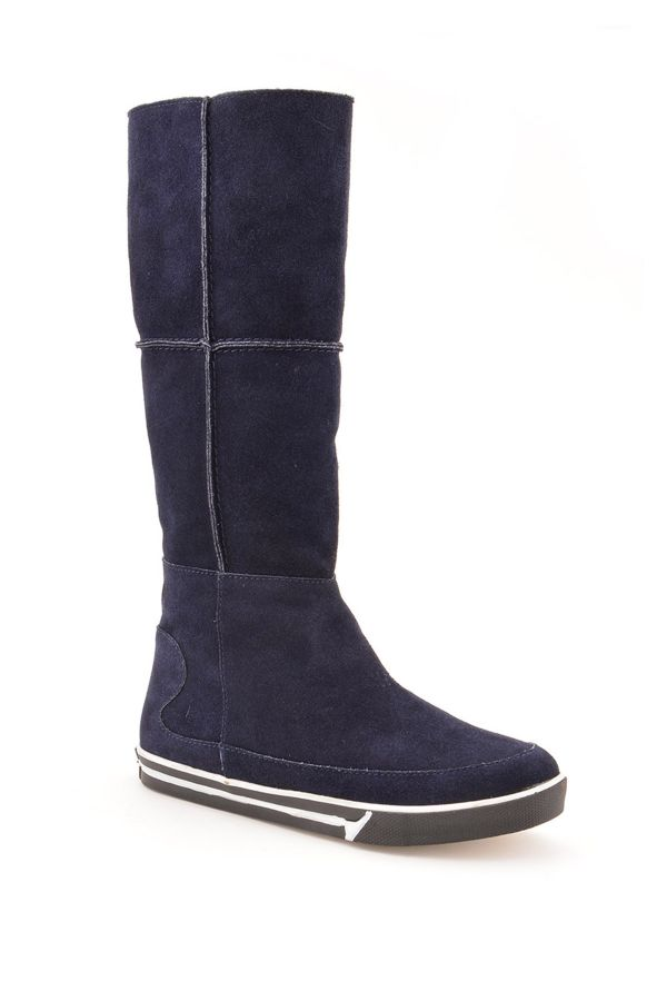 Pegia Women High Boots From Genuine Suede And Fur Navy blue