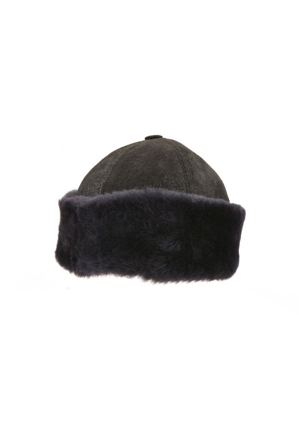 Pegia Ottoman Hat From Genuine Leather Black