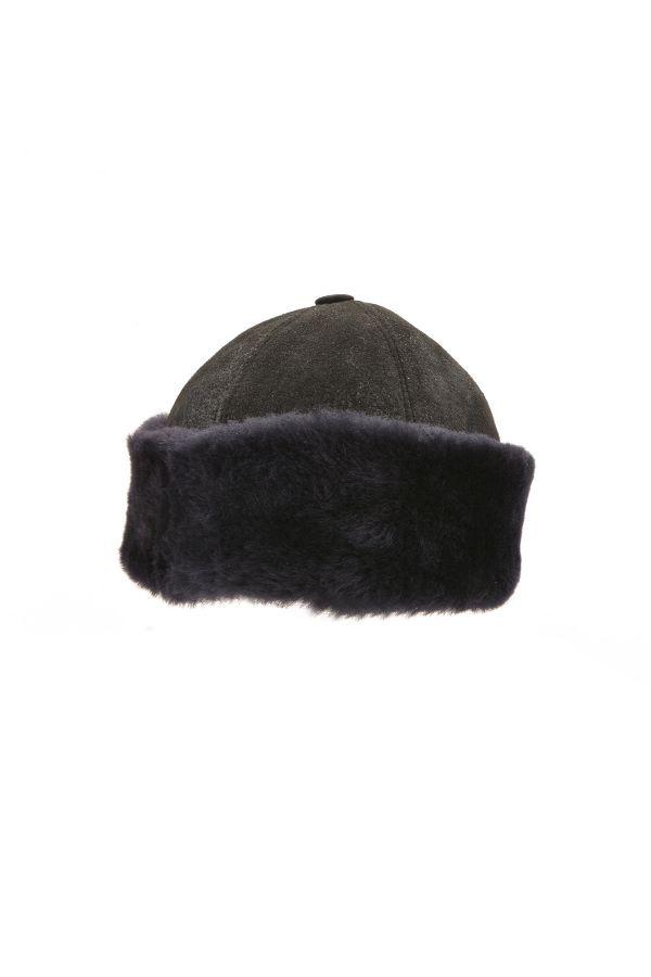 Pegia Hakiki Deri Kürklü Diriliş Şapka  Siyah