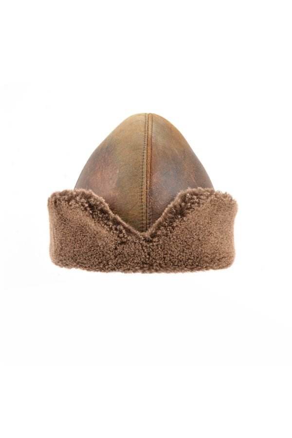 Pegia Ottoman Hat From Vintage Leather And Genuine Fur Brown