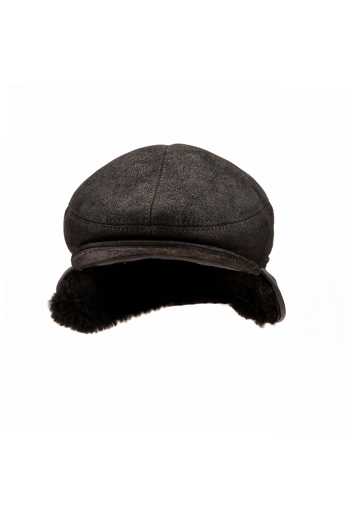 Pegia Peacked Cap From Vintage Leather And Genuine Fur Black