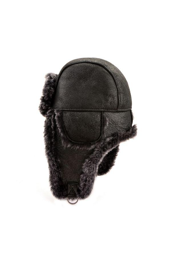 Pegia Hakiki Deri İçi Kürk Kulaklıklı Şapka Siyah