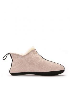 Pegia Hakiki Kürk Süet Deri Bayan Ev Ayakkabısı Bej
