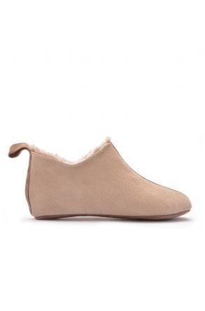 Pegia Hakiki Kürk Süet Deri Bayan Ev Ayakkabısı Sahra