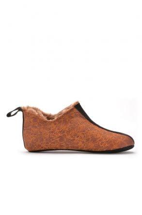 Pegia Hakiki Kürk Süet Deri Bayan Ev Ayakkabısı Bakır