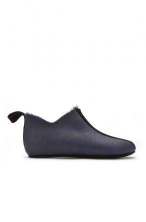 Pegia Hakiki Kürk Süet Deri Bayan Ev Ayakkabısı Lacivert