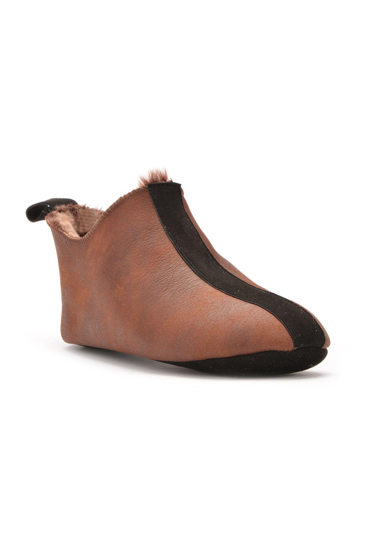 Pegia Hakiki Kürk Süet Deri Bayan Ev Ayakkabısı Koyu Kahve