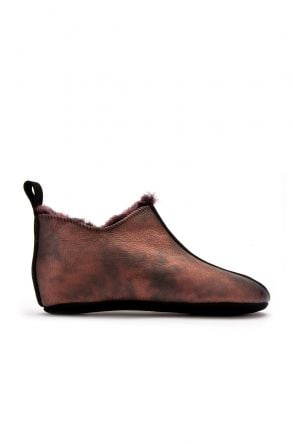 Pegia Hakiki Kürk Süet Deri Bayan Ev Ayakkabısı Bordo