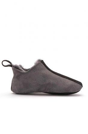 Pegia Hakiki Kürk Süet Deri Bayan Ev Ayakkabısı Gri
