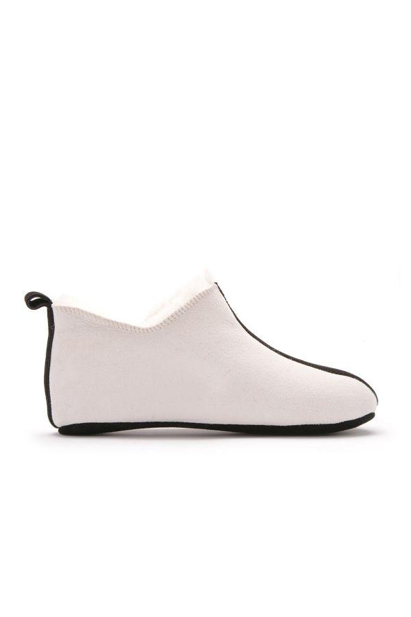 Pegia Hakiki Deri İçi Kürk Bayan Ev Ayakkabısı Bej