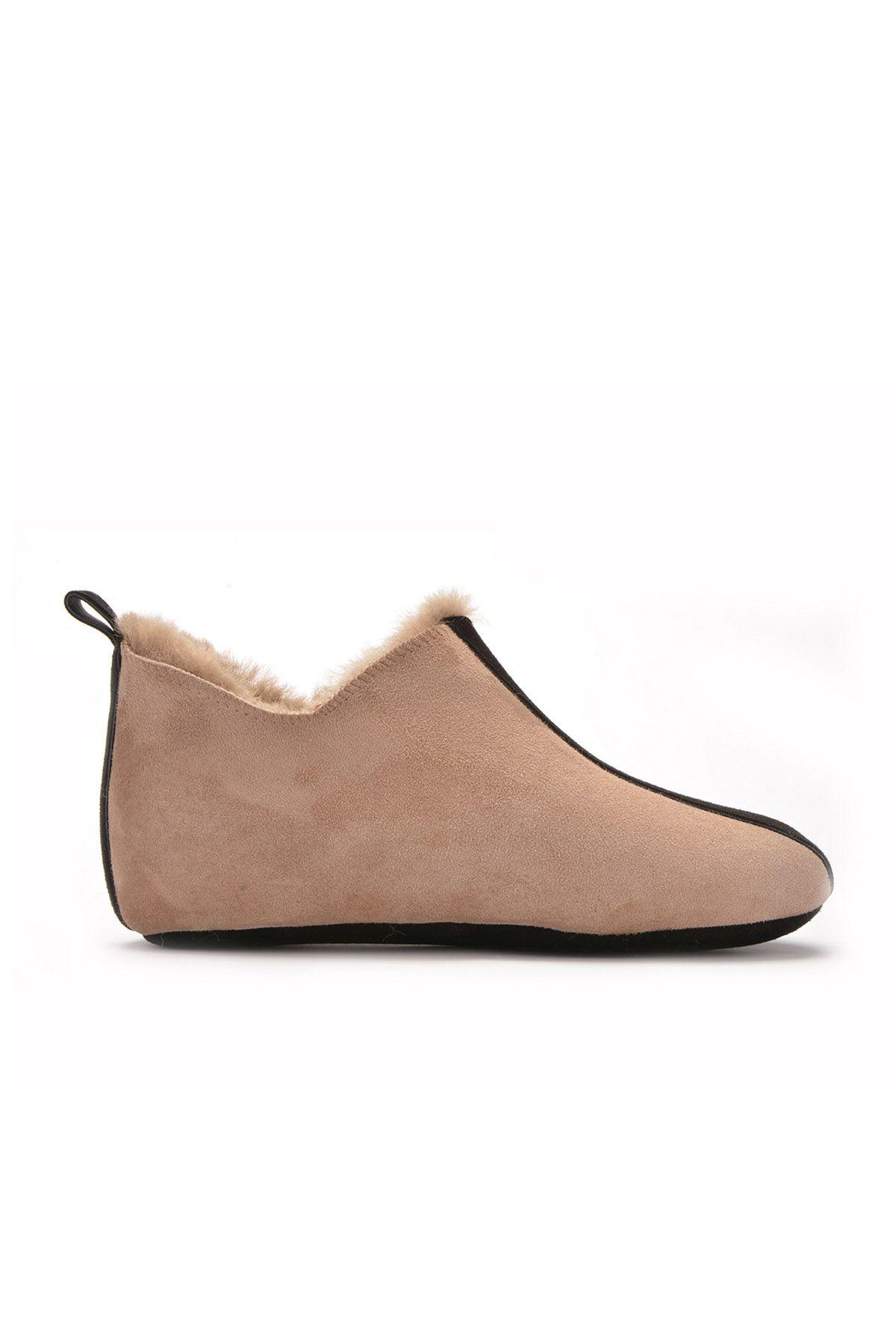 Pegia Hakiki Kürk Bayan Ev Ayakkabısı 101197 Vizon