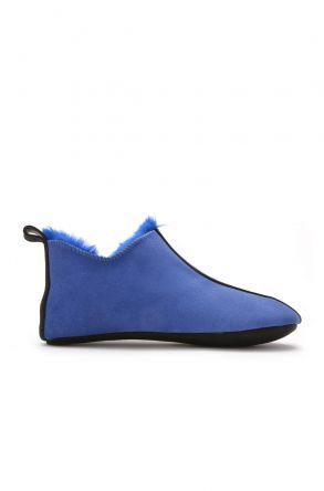 Pegia Hakiki Kürk Kadın Ev Ayakkabısı Lacivert
