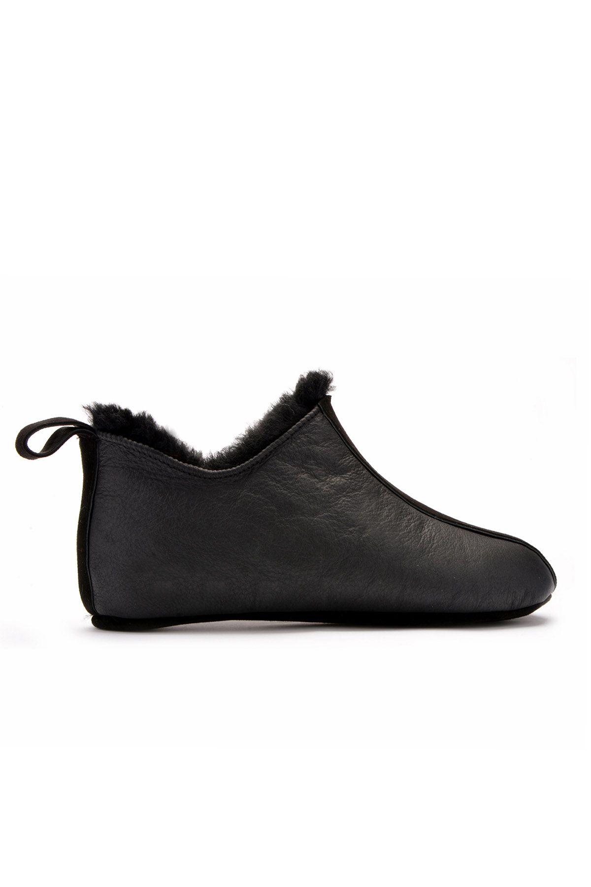 Pegia Мужская Домашняя Обувь Из Натурального Меха Черный