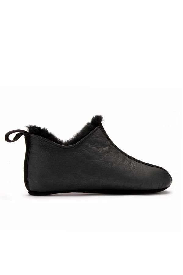 Pegia Men House-Shoes From Genuine Fur Black