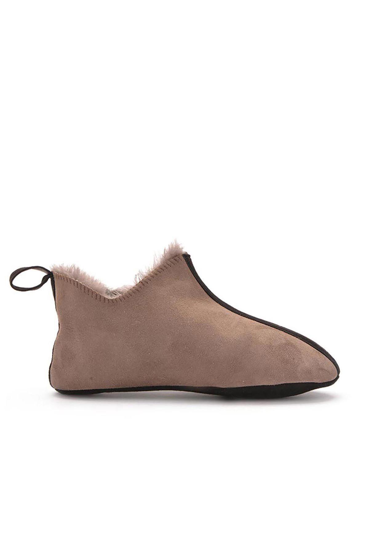 Pegia Hakiki Kürk Erkek Ev Ayakkabısı 111097 Vizon