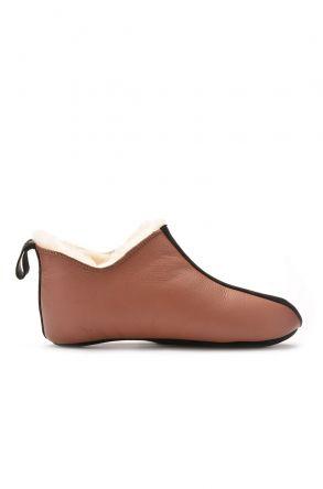 Pegia Hakiki Kürk Erkek Ev Ayakkabısı Kahve