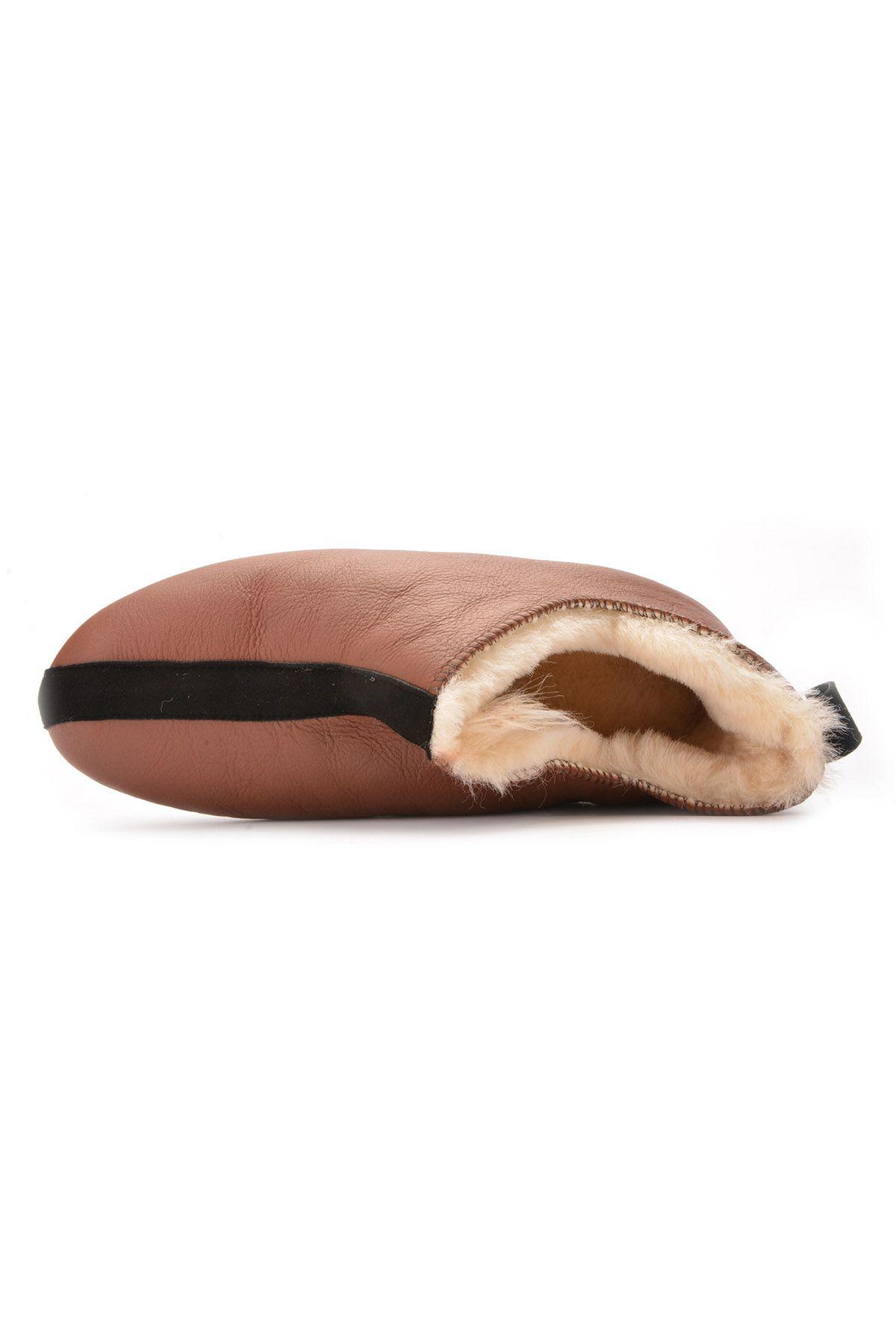 Pegia Hakiki Kürk Erkek Ev Ayakkabısı 111097 Kahve
