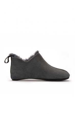 Pegia Men House-Shoes From Genuine Fur Gray