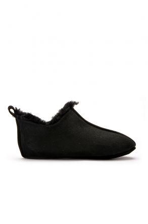 Pegia Hakiki Kürklü Çocuk Ev Ayakkabısı 121097 Siyah
