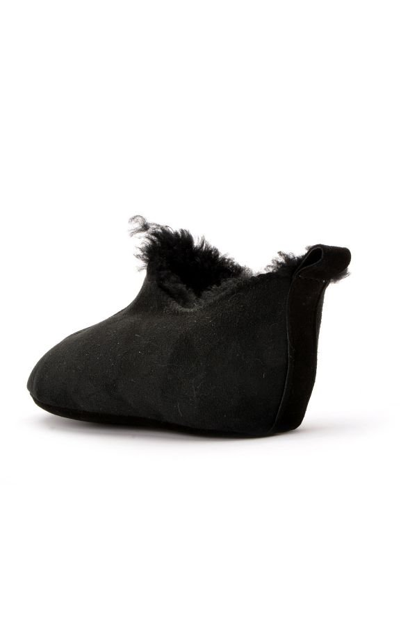 Pegia Kids House-Shoes From Genuine Fur Black