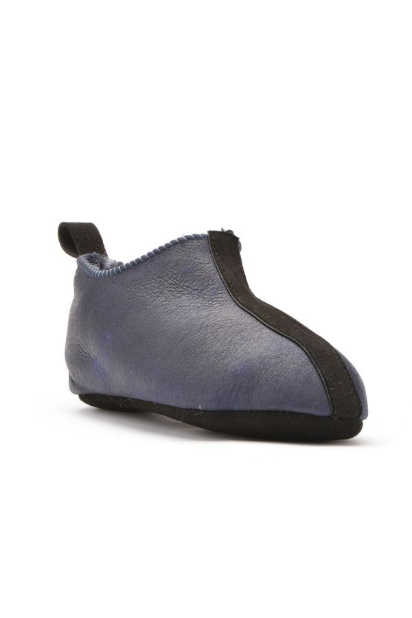 Pegia Kids House-Shoes From Genuine Fur Navy blue
