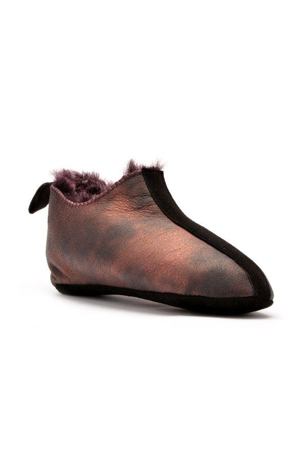Pegia Hakiki Kürk Çocuk Ev Ayakkabısı Bordo