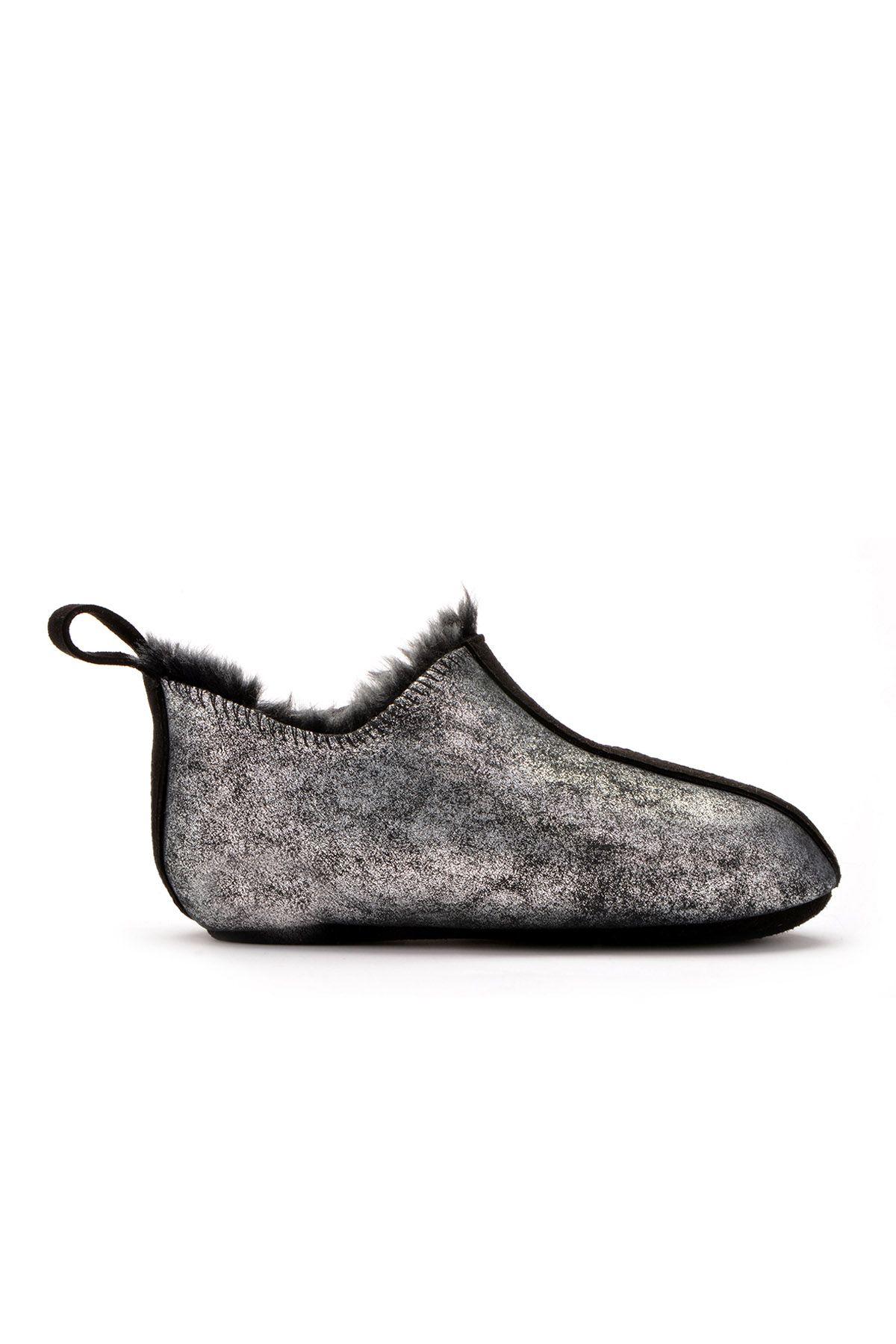 Pegia Hakiki Kürklü Çocuk Ev Ayakkabısı 121097 Gümüş