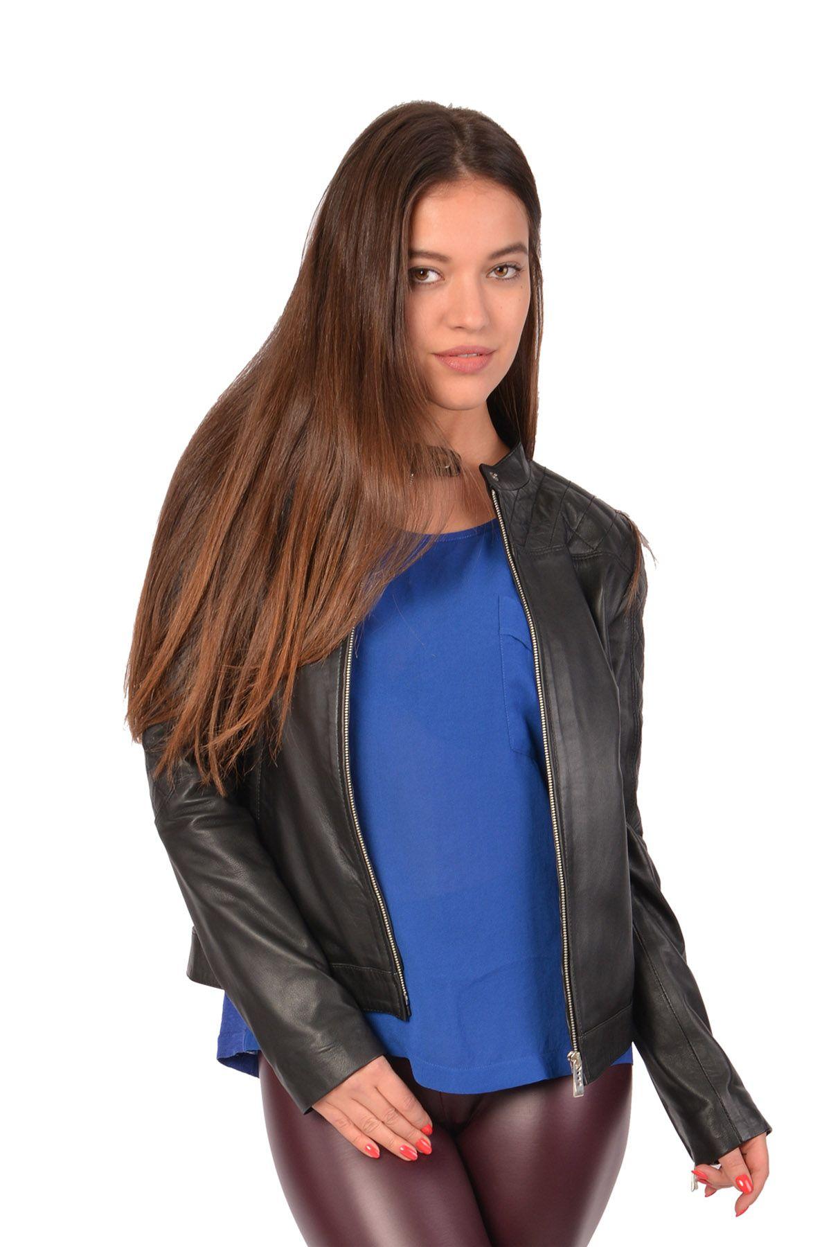 Pegia Hakiki Deri Kadın Ceket Siyah